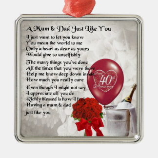 Mum & Dad Poem - 40th Wedding Anniversary Metal Ornament