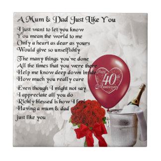 Mum & Dad Poem - 40th Wedding Anniversary Tile
