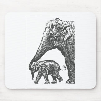 mum elephant and baby mouse pad