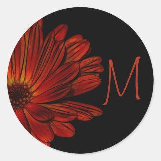 Mum Flower Floral Monogram Black Sticker