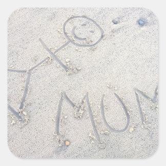 Mum on the beach stick woman figure square sticker