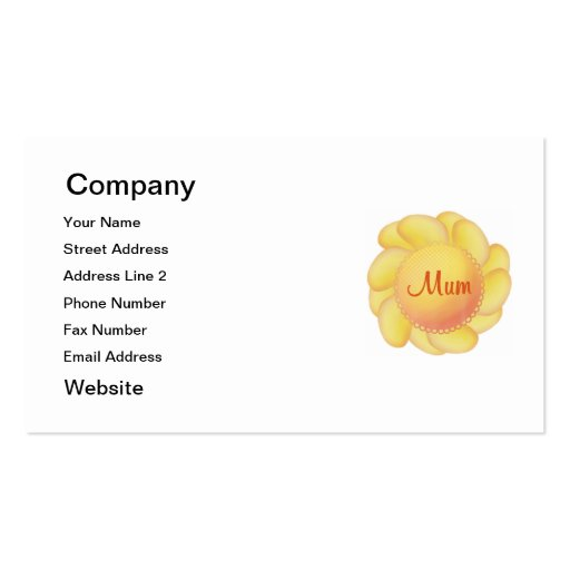 Mum (yellow flower) business card