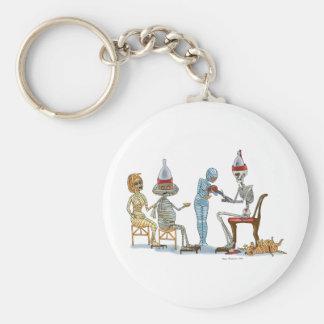 Mummific Skeleton Dinner Basic Round Button Keychain