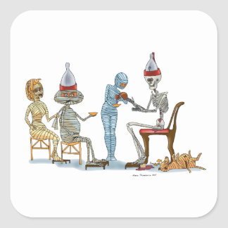 Mummific Skeleton Dinner Square Sticker