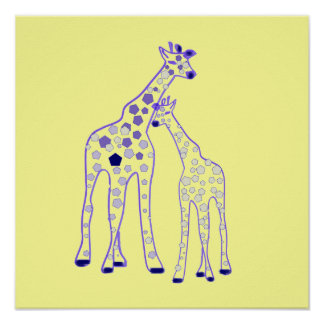 mummy and baby giraffe poster