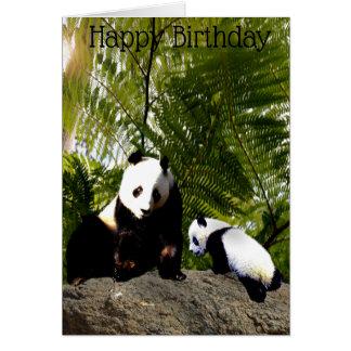 Mummy And Baby Panda Birthday Card