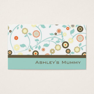 Mummy Calling Card Flowers Green Brown Modern
