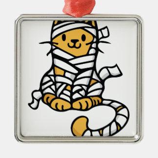 Mummy Cat Silver-Colored Square Ornament
