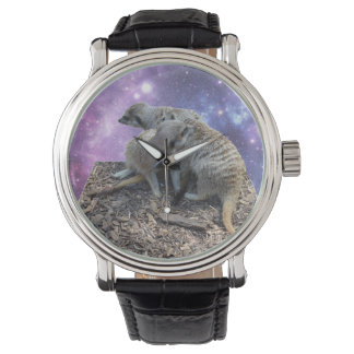 Mummy Meerkat And Her Pup, Mens Leather Watch. Watch