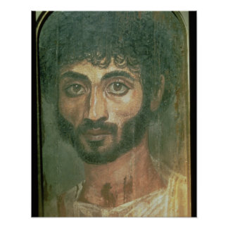 Mummy Portrait of a Man, from Fayum, Romano-Egypti Poster