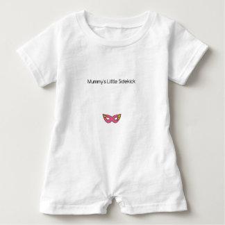 Mummy's Little Sidekick superhero mask pink Baby Romper