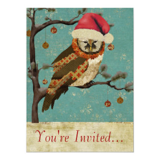 Mums Owl Blue Holiday Invitation