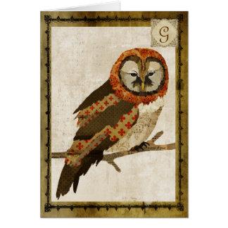 Mums Owl Vintage  Monogram Notecard Stationery Note Card