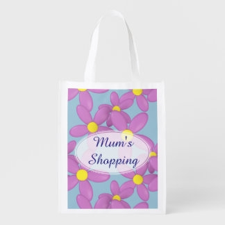 Mum's Pink Daisy Flower Custom shopping Bag
