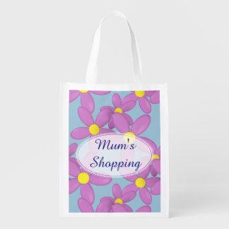 Mum's Pink Daisy Flower Custom shopping Bag Grocery Bag
