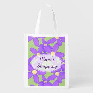 Mum's Purple Flower shopping bag Market Tote