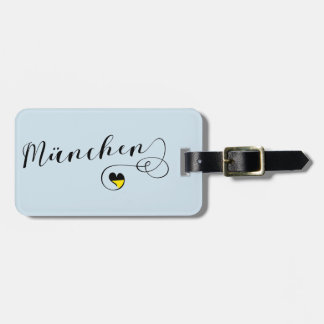 München Heart Luggage Tag Template, Munich