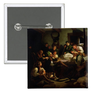 Munchhausen tells his hunting tales, 1842 2 inch square button