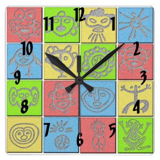 Mundo Taino Square Wall Clock