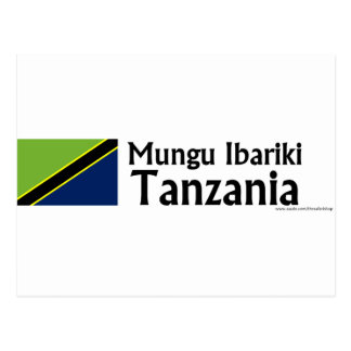 Mungu Ibariki (God Bless) Tanzania with flag Postcard