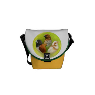 Munia finches realistic painting courier bags