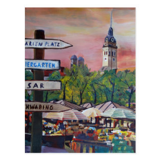 Munich Bavaria Viktualienmarkt With Signposts Postcard