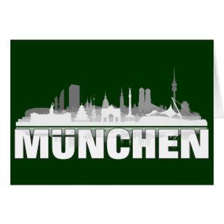 Munich city of skyline - folding map/invitation card