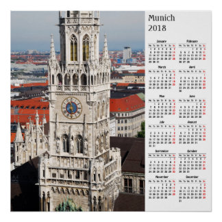 Munich, Germany 2018 calendar Poster
