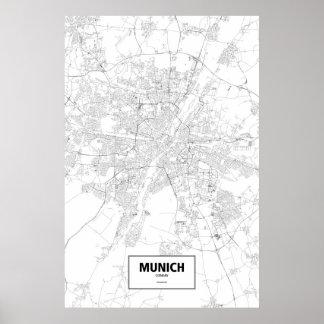 Munich, Germany (black on white) Poster