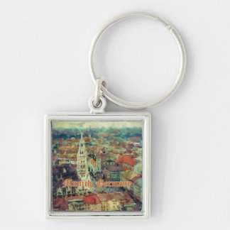 Munich, Germany City View & Church of St. Peter Silver-Colored Square Keychain