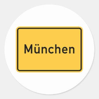 Munich, Germany Road Sign Round Sticker