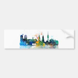 Munich, Germany Watercolor landscape Bumper Sticker