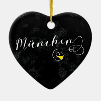 Munich Heart, Christmas Tree Ornament, Germany Ceramic Ornament