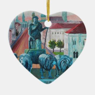 Munich Leopold Str. With Bavaria And Alps Ceramic Heart Ornament