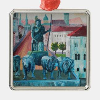 Munich Leopold Str. With Bavaria And Alps Silver-Colored Square Ornament