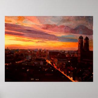 Munich  skyline at dawn poster