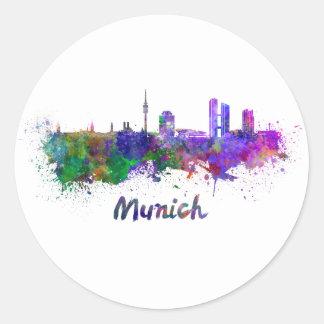 Munich skyline in watercolor round sticker