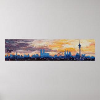 Munich Skyline Panorama Silhouette Poster