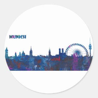 Munich Skyline Silhouette Classic Round Sticker