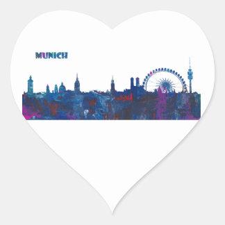 Munich Skyline Silhouette Heart Sticker
