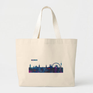 Munich Skyline Silhouette Large Tote Bag