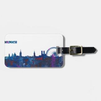 Munich Skyline Silhouette Luggage Tag
