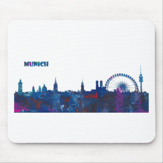 Munich Skyline Silhouette Mouse Pad