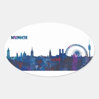 Munich Skyline Silhouette Oval Sticker
