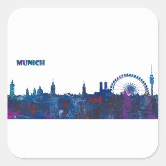 Munich Skyline Silhouette Square Sticker