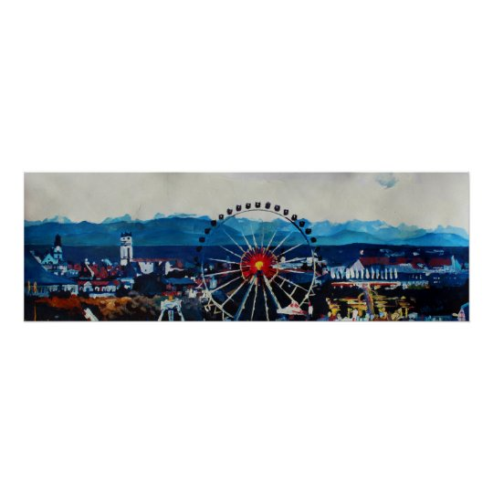 Munich Wiesn and Octoberfest Alps Panorama Poster