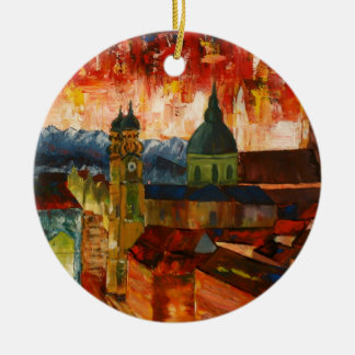 Munich With Alps Panorama Ceramic Ornament