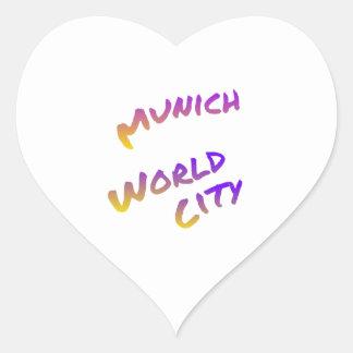 Munich world city, colorful text art heart sticker