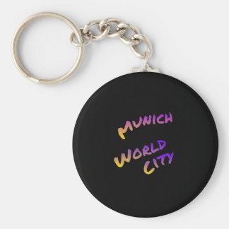 Munich world city, colorful text art keychain