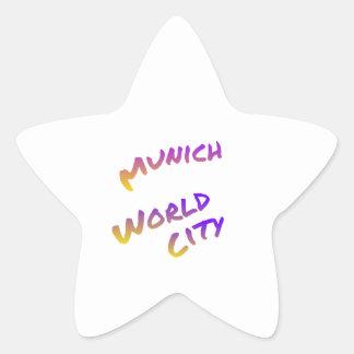 Munich world city, colorful text art star sticker